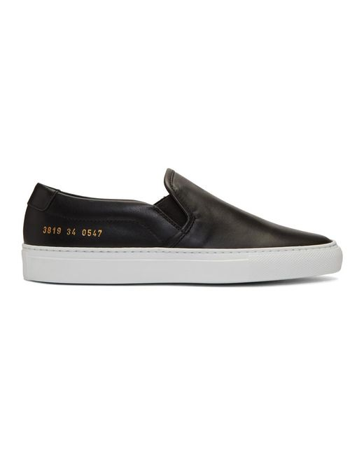 Common Projects - Black Leather Slip-on Sneakers - Lyst