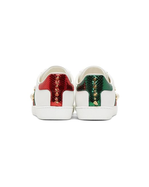 dd619d8db13 ... Gucci - White Pearl Stud New Ace Sneakers - Lyst ...