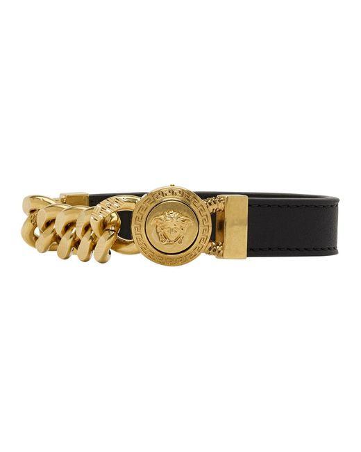 Versace - Black And Gold Leather Medusa Bracelet for Men - Lyst