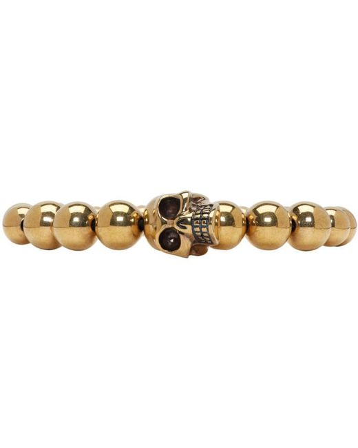 Alexander McQueen | Metallic Gold Skull Multibeaded Bracelet for Men | Lyst