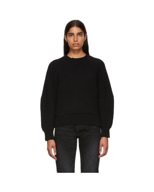Alexander McQueen - Black Cropped Crewneck Sweater - Lyst