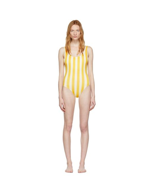 abb234aad84 Solid & Striped - Yellow And Off-white The Anne-marie One-piece ...