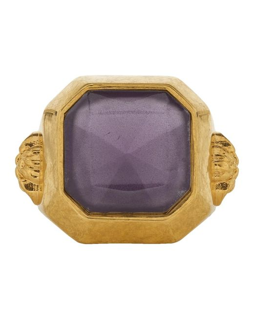 Versace - Metallic Gold And Purple Gem Ring for Men - Lyst