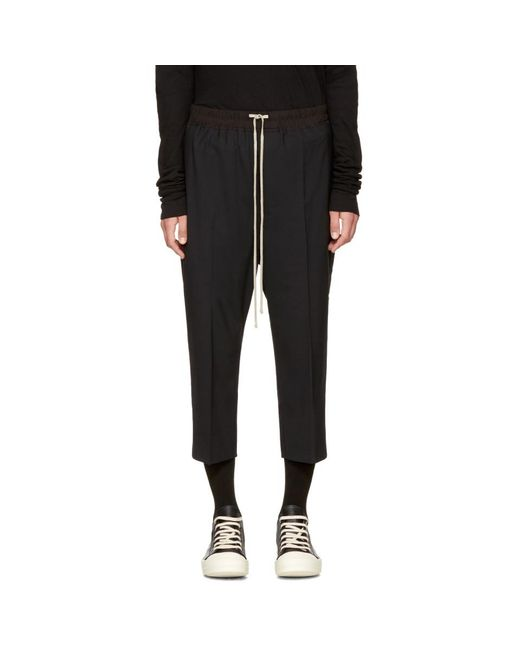 Rick Owens - Black Drawstring Cropped Astaires Lounge Pants for Men - Lyst