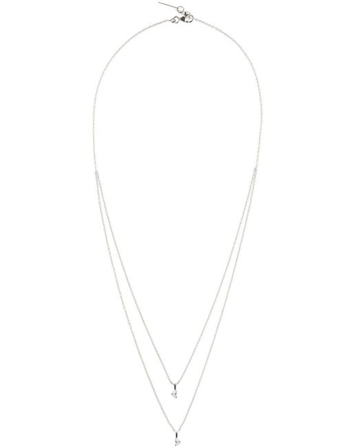 Maison Margiela   White Gold Crescent Diamond Solitaire Bisected Necklace   Lyst