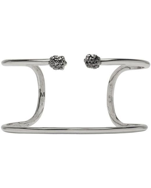Alexander McQueen   Metallic Silver Double Thin Raw Twin Skull Bracelet   Lyst