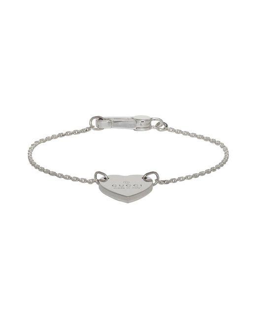 Gucci - Metallic Silver Trademark Heart Bracelet - Lyst