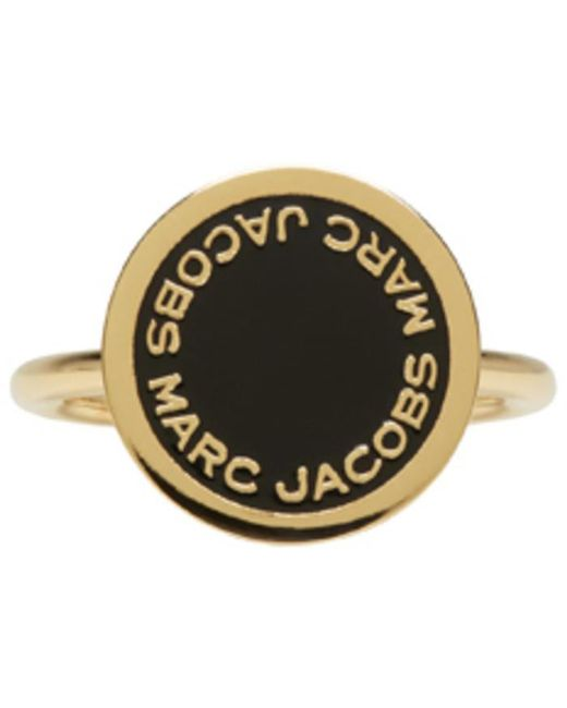 Marc Jacobs | Metallic Gold Enamel Logo Disc Ring | Lyst