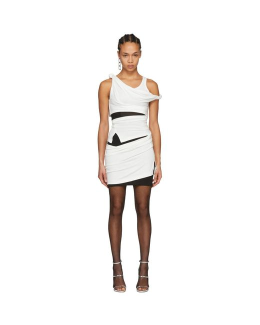 Alexander Wang - Off-white And Black Deconstructed Tank Dress - Lyst