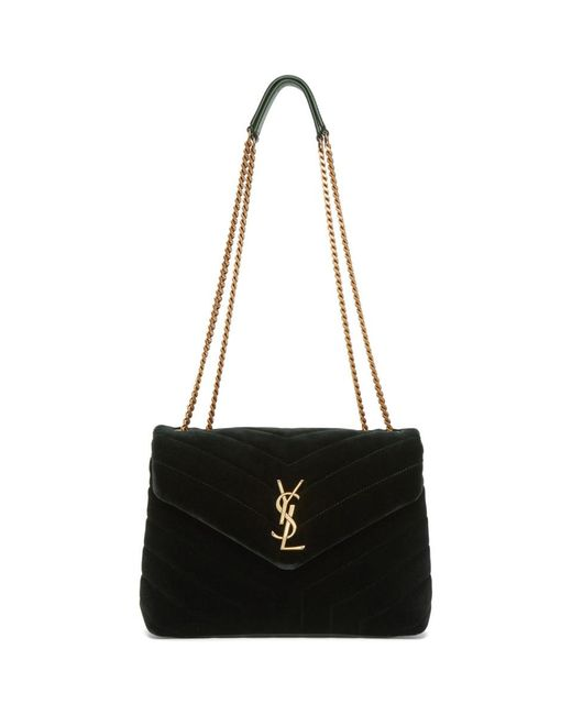 Saint Laurent - Green Small Loulou Velvet Chain Bag - Lyst