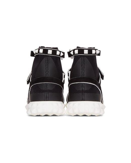 Black Valentino Garavani Studded Knit Sock High-Top Sneakers Valentino VkhWk