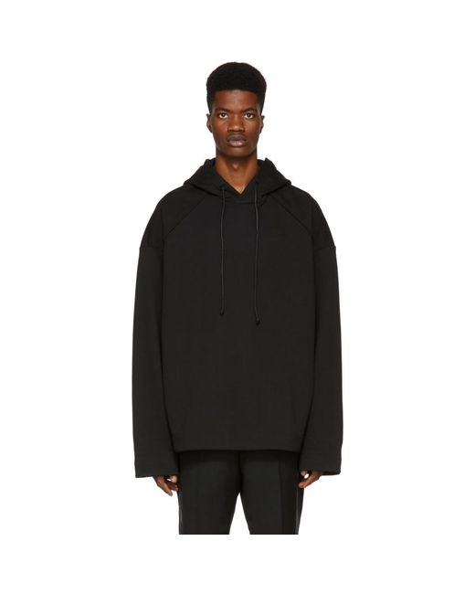 Juun.J - Black Embroidered Lapped Hoodie for Men - Lyst