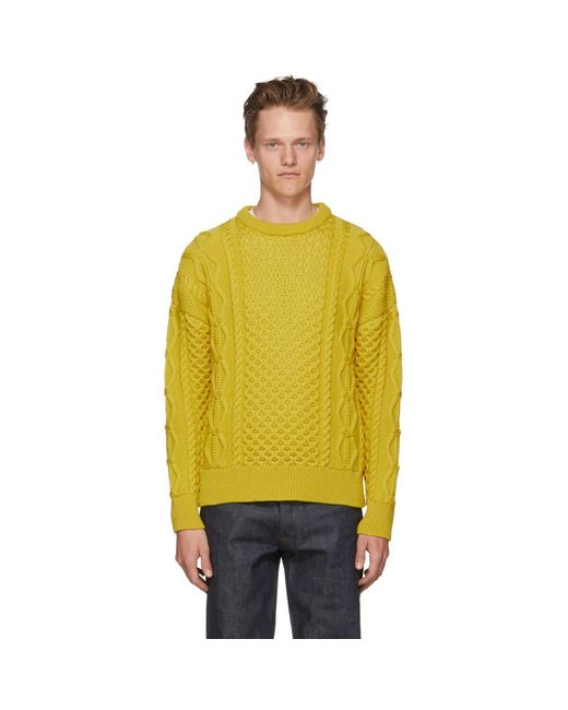 AMI - Yellow Irish Crewneck Sweater for Men - Lyst