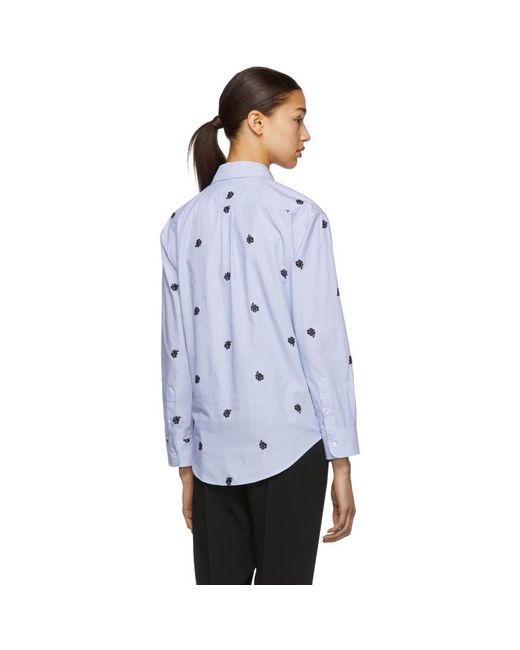 6f0d70c6 ... KENZO - Blue And White Roses Shirt - Lyst ...