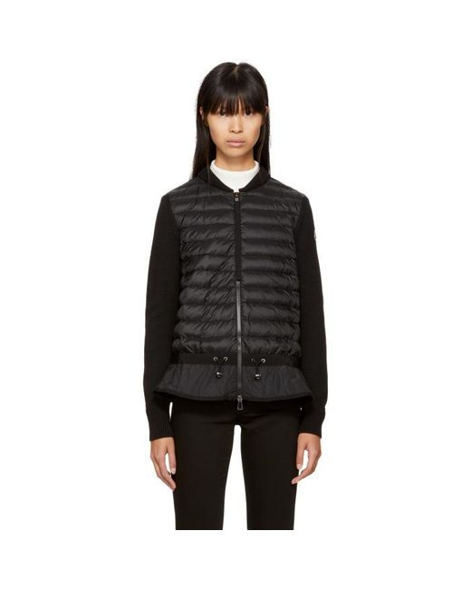 Moncler | Black Down Knit Peplum Jacket | Lyst