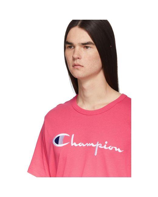 965e604e ... Champion - Pink Embroidered Script Logo T-shirt for Men - Lyst ...