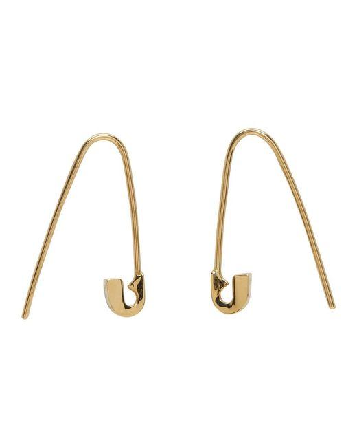 Lauren Klassen - Metallic Gold Tiny Safety Pin Hook Earrings - Lyst