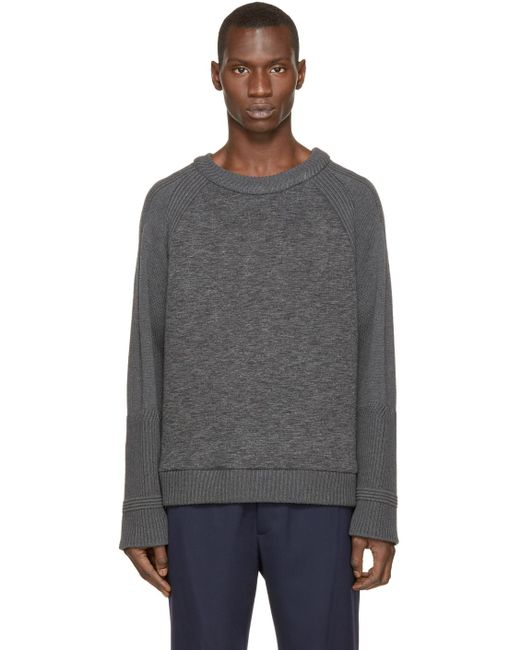 Juun.J | Gray Grey Neoprene & Knit Sweater for Men | Lyst