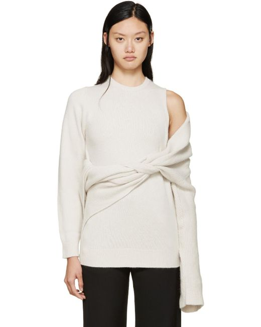 Toga   White Beige Superimposed Knit Sweater   Lyst