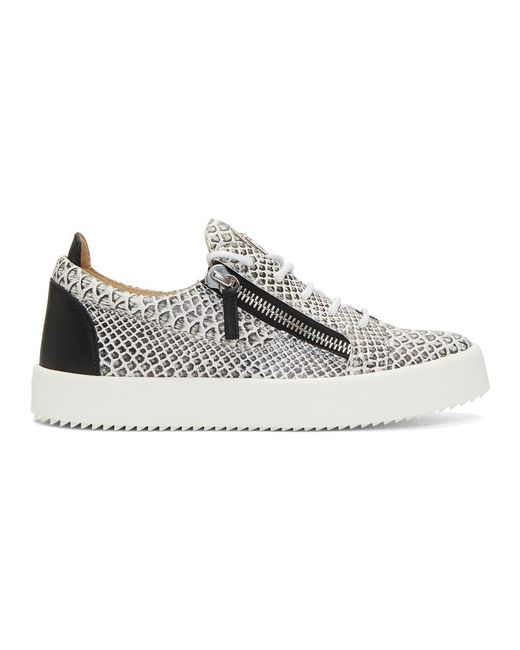 80b3f15803aa Giuseppe Zanotti - White And Black Croc Frankie Sneakers for Men - Lyst ...