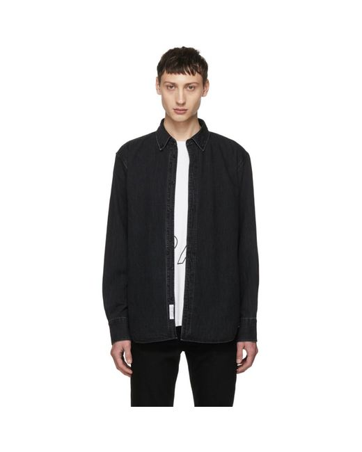 Rag & Bone - Black Faded Denim Shirt for Men - Lyst