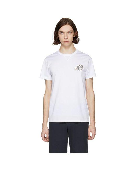 Moncler - White Double Logo T-shirt for Men - Lyst