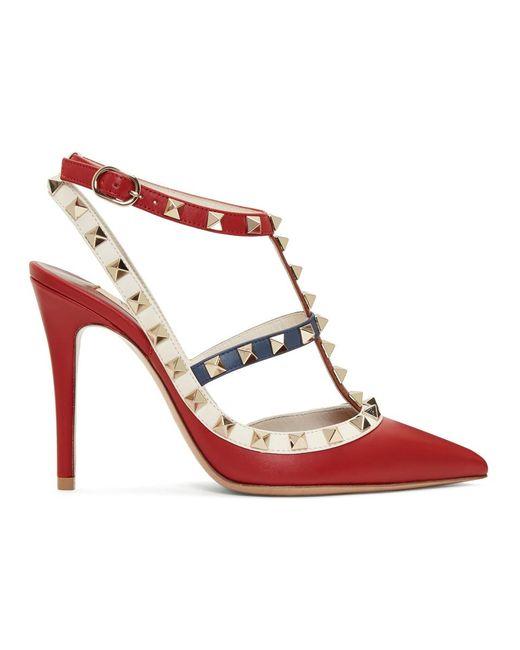 f86a45ca3f82 Valentino - Blue Multicolor Garavani Rockstud Ankle Strap Heels - Lyst ...