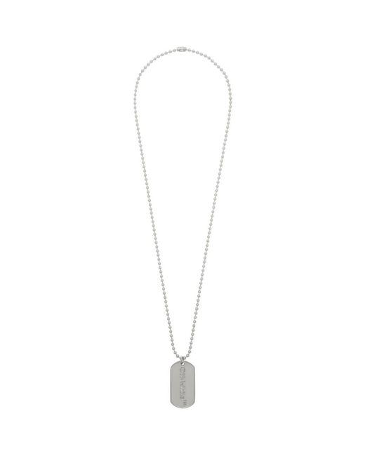 Off-White c/o Virgil Abloh Metallic Ssense Exclusive Silver Dog Tag Necklace