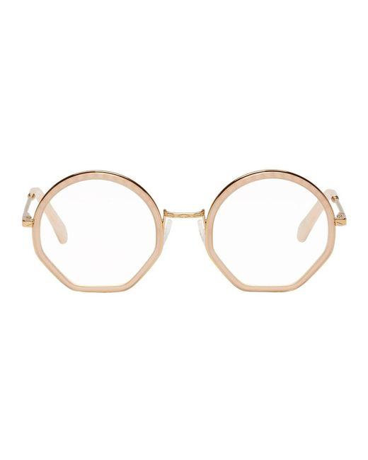 Chloé - Metallic Gold And Pink Tilda Glasses - Lyst
