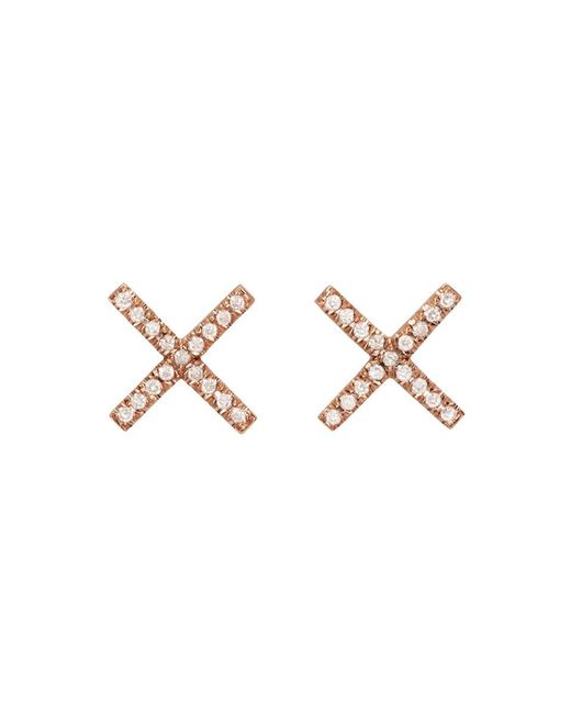 Eva Fehren - Metallic Rose Gold & Diamond X Studs - Lyst