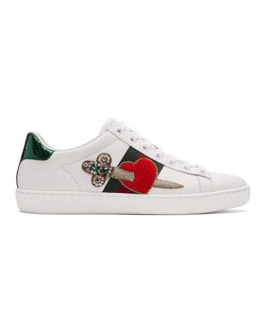 Gucci - White Pierced Heart Ace Sneakers - Lyst