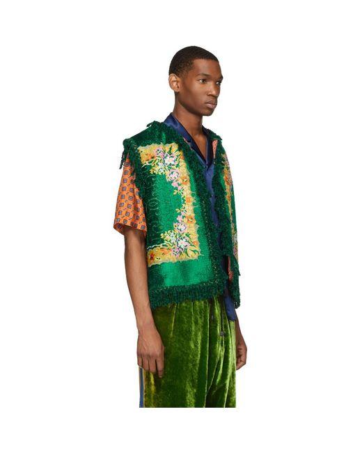 67e8c3d6d09 ... Gucci - Green Floral Velvet Jacquard Vest for Men - Lyst ...