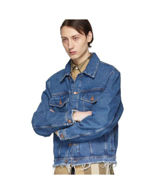 aae522cebbe8 ... HUGO - Blue Denim Raw Edge Jacket for Men - Lyst ...