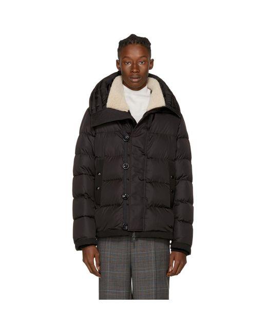Moncler - Black Down Shearling Pyrenees Jacket for Men - Lyst