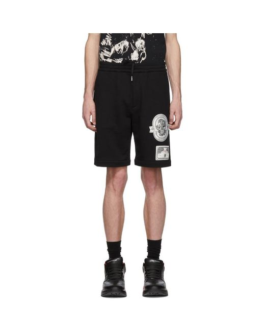 c95ea380b1 Alexander McQueen Black Patch Shorts in Black for Men - Lyst