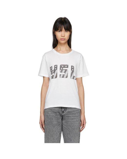 Lyst saint laurent white ysl logo t shirt in white for Ysl logo tee shirt