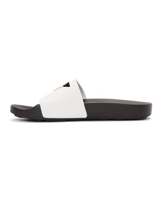 Prada White Infradito Capri Triangle Logo Slides