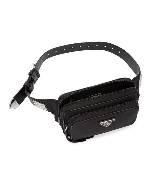 149318cd1282 ... Prada - Black Studded Belt Bag - Lyst ...