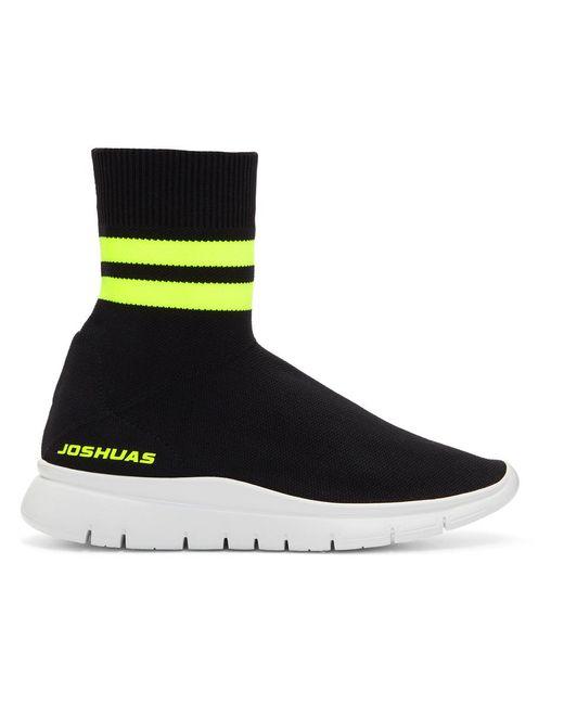 Joshua Sanders - Black And Yellow Jump Neon Striped Sock Sneakers - Lyst