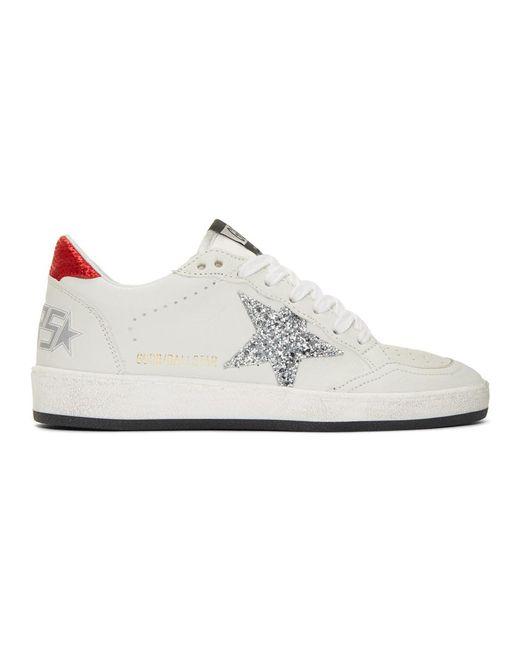 2b612b898d592 Lyst - Golden Goose Deluxe Brand White Glitter Ball Star Sneakers in ...