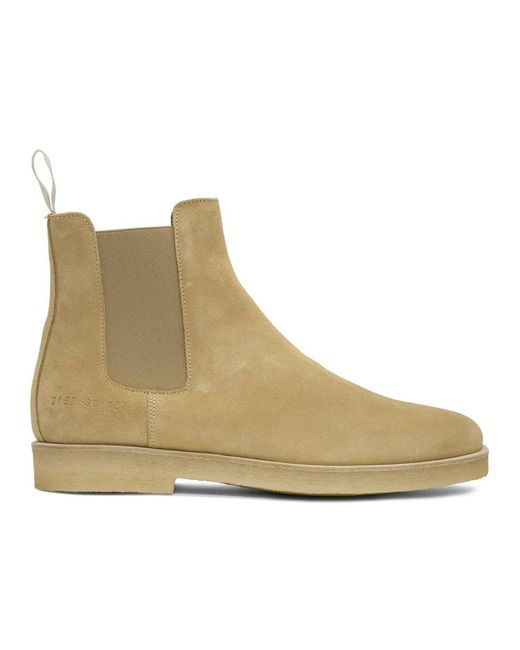 Common Projects Brown Tan Suede Chelsea Boots for men
