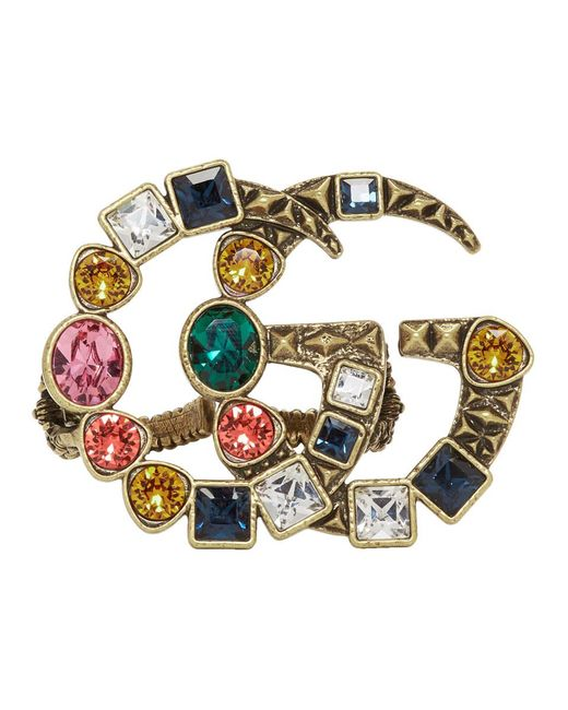 Gucci - Metallic Gold And Multicolor Crystal GG Multi-finger Ring - Lyst