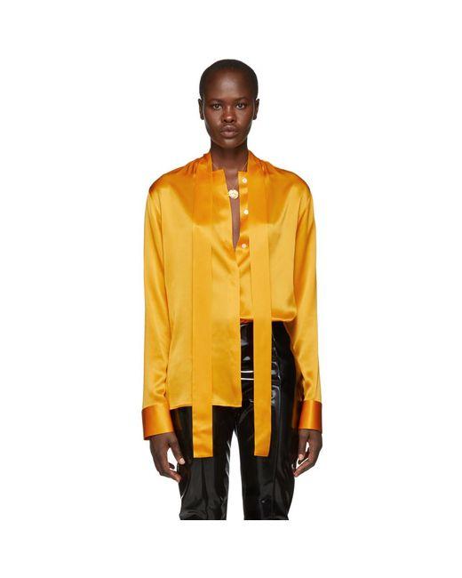 Haider Ackermann - Orange Silk Dali Shirt - Lyst