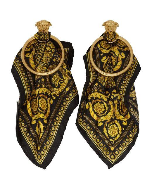 Versace - Black ブラック And ゴールド バロッコ スカーフ メドゥーサ フープ ピアス - Lyst