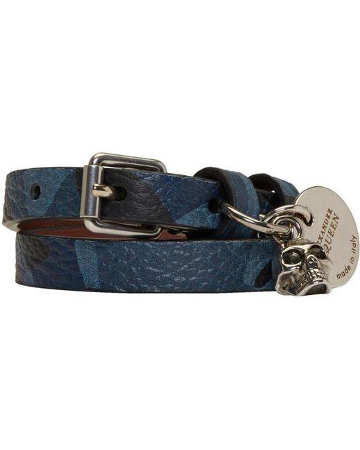 Alexander McQueen | Blue Camo Skull Double Wrap Bracelet | Lyst