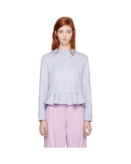 Carven   Purple Ruffled Sweatshirt   Lyst