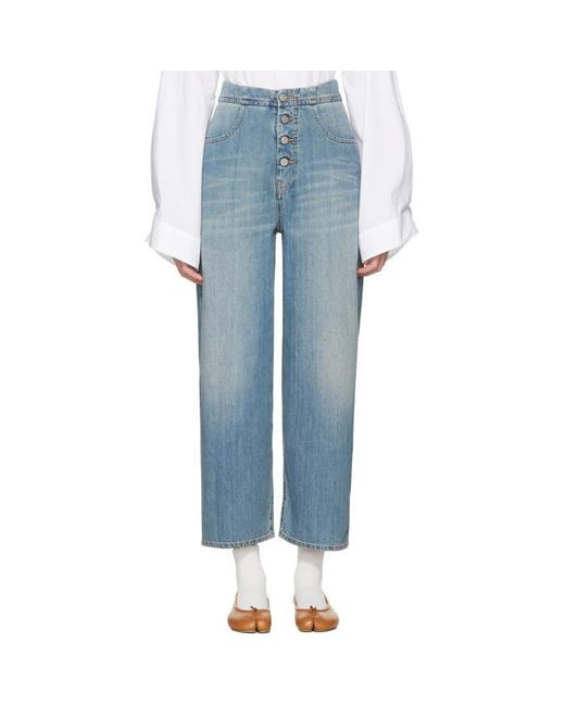 MM6 by Maison Martin Margiela | Blue Carryover Wide-leg Crop Jeans | Lyst