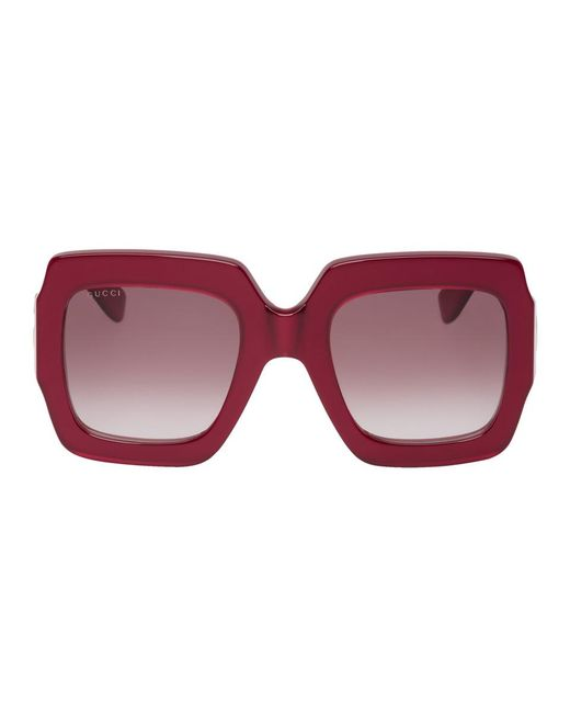 870be4e091 Lyst - Gucci Red Oversized Pop Web Square Sunglasses in Red