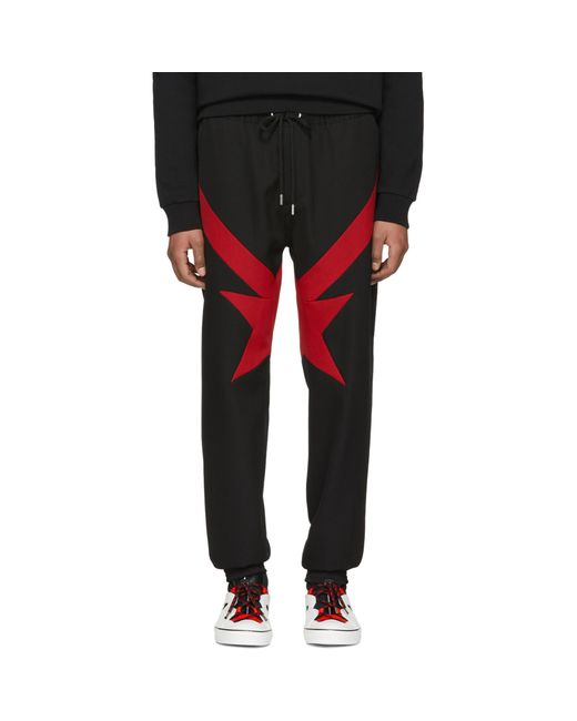 Givenchy   Black And Red Stripes And Stars Trousers for Men   Lyst