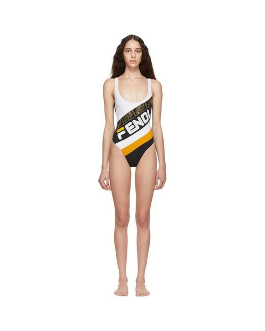 Fendi - White And Black Mania One-piece Swimsuit - Lyst